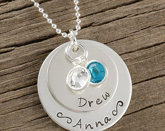Mommy jewelry, Personalized custom Jewelry - Hand stamped Necklace- Mother's Necklace - engraved for mom