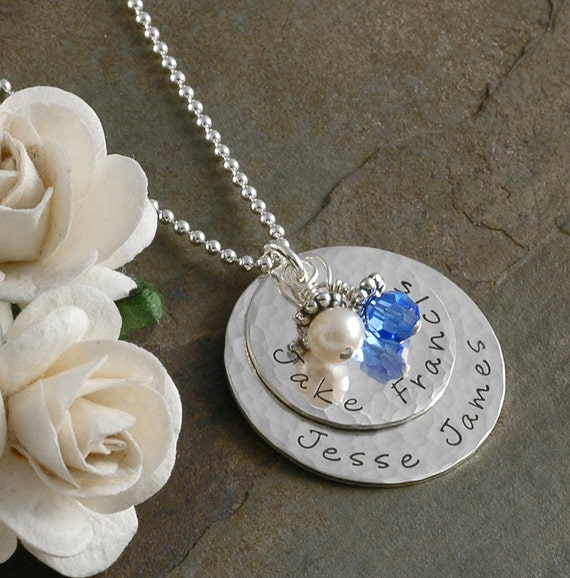 Mothers necklace - hammered - personalized - hand stamped - birthstones - stacked