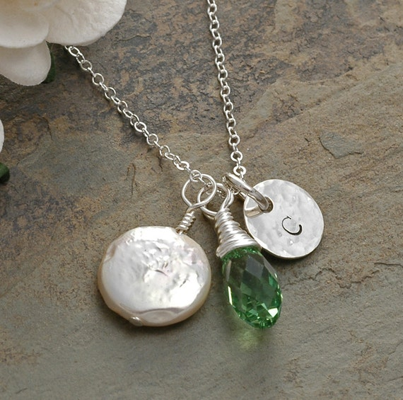 Hand stamped jewelry initial necklace with coin pearl and for How to make hand stamped jewelry