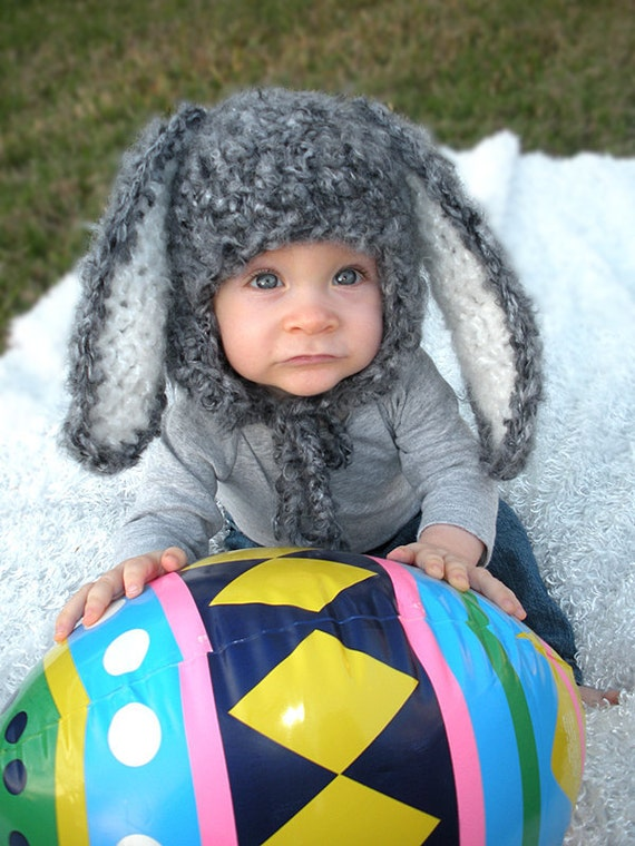Bunny Hat with Floppy Ears, Newborn Easter Hat, Newborn Bunny, Gray Bunny, Baby Bunny Hat, Baby Easter Hat,  Newborn PHOTO PROP