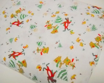 Novelty Print Christmas Fabric, Animals Around Christmas Tree Print,  Sewing Supplies, 1 Yard Remnant, Sewing Notions