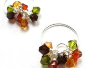 Orange, Golden Yellow, Green and Brown Crystal Earrings On Spiral Hoops-Fallen Leaves