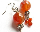 Orange Fire Agate Earrings With Trio Of Wire-Wrapped Carnelian- Sun Kissed