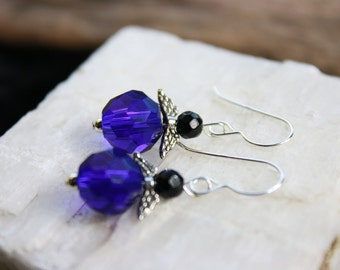 Cobalt Blue and Black Vintage Crystal Angel Wing French Wire Sterling Silver Earrings