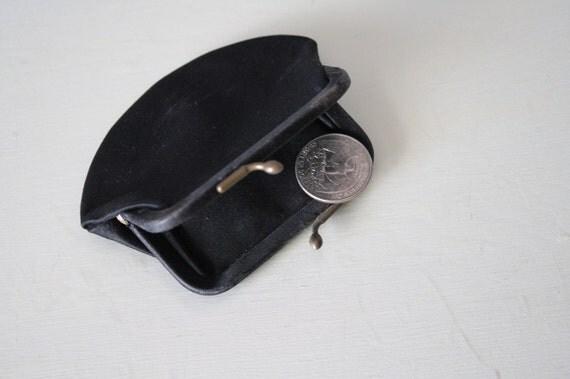 Vintage Coin Purse,  Black Satin Change Purse, Mid Century pocket book