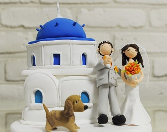 Santorini Greece custom wedding cake topper Decoration gift - Island theme wedding
