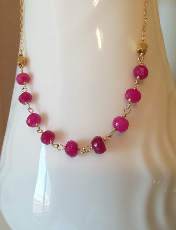 Natural Ruby Gemstone Wire Wrapped Necklace 14kt Gold Fill