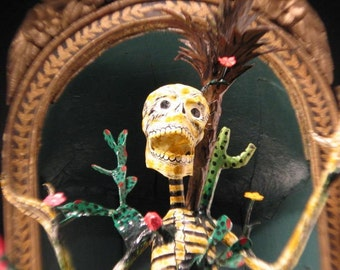 Paper Mache Branch Man Skeleton Figure / Unsigned but with Very Strong Attributes to the Linares Family