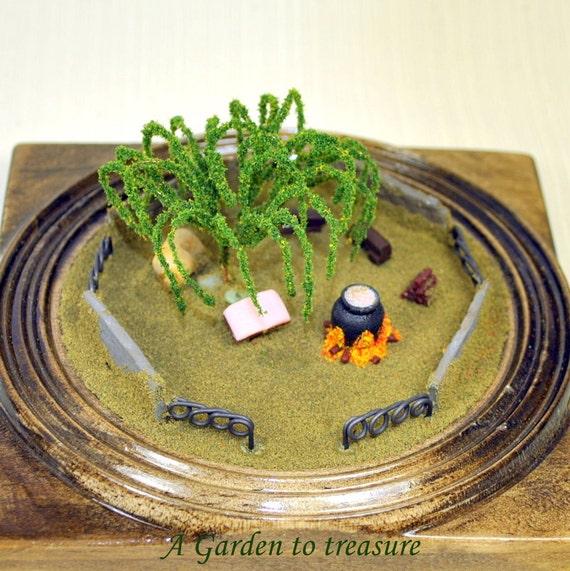 The Sanctuary - Miniature Garden Desktop Garden Mini Terrarium Handmade Diorama Witch Garden