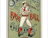 Baseball decor - Spaldings 1889 Baseball Guide print - 8x10, 11x14 or 16x20 print - Vintage old time baseball print