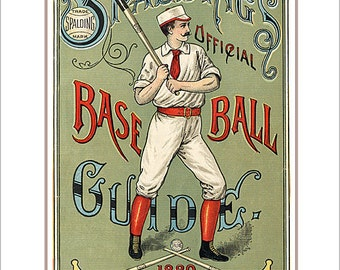 Baseball decor - Spaldings 1889 Baseball Guide print - 8x10, 11x14 or 16x20 print - Vintage old time baseball print