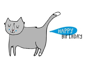 Cat birthday card - Happy Birthday cat card, cat lover,