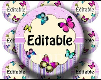 INSTANT DOWNLOAD Editable PDF Lovely Butterflies (159) 4x6 Bottle Cap Images Digital Collage Sheet for bottlecaps hair bows bottlecap images