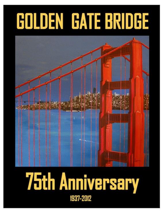 Golden Gate Bridge 75th Anniversary San Francisco California Original travel poster illustration artist print Wall Art, Free Shipping in USA