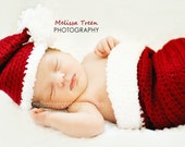 Crochet Baby Hat, Christmas Stocking and hat set newborn baby photography prop