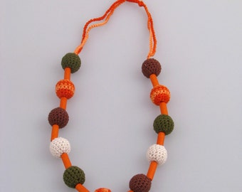 CLEARANCE SALE - Necklace with crocheted balls