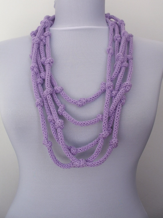 30% OFF SALE - Knit Necklace - loop infinity scarflette - in lavender (WAS 27)   E054