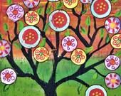 "Half off Original price Mexican Folk Art  Penny Tree, Happy Tree  original painting on upcycled wood, Tree of life 12""x7 1/2"""