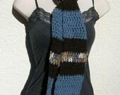 Blue Brown Multicolor Glitter Crochet Neck Scarf