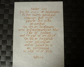 """Lord's Prayer calligraphy in Old English, 8.5""""x11"""""""