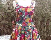 1960's Vintage Bright rockabilly dress Small