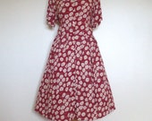 Vintage Daisy Print Day Dress Red UK 16 US 12