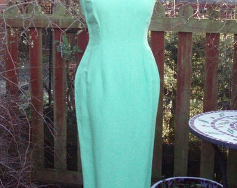 Vintage lime linen wiggle dress midi length UK 8 Petite Fitting