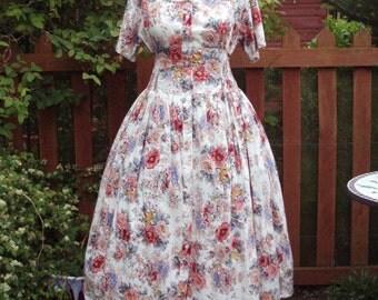 Vintage Antique Floral 1950s style cotton summer dress by TOPSHOP, UK 14, US 10 12