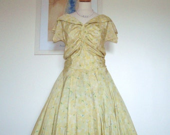 Vintage original late 1940s early 1950's Silk Lemon Floral Dress UK10 US 6 8