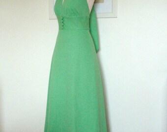 Vintage 1960s Lime green Halter Maxi dress UK 12 US 8 10