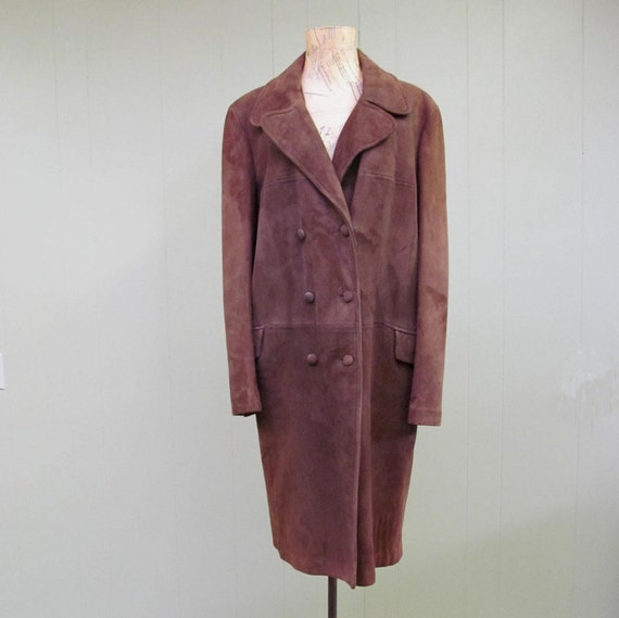 Vintage 1960s Suede Coat / 60s Mod Double Breasted Brown Suede Coat / Med - Lrg