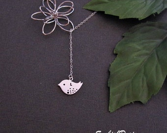 Lotus Necklace, Mothers Necklace, Mom Necklace, Minimal Necklace, Initial Necklace, Dainty Necklace, Personalized Gift, Womens Jewelry, Bird