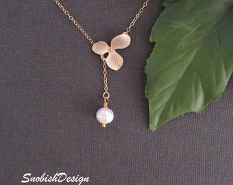 Orchid Necklace, Flower Necklace, Minimal Necklace, Delicate Necklace, Dainty Necklace, Pearl necklace, Simple Necklace, Lariat Necklace,