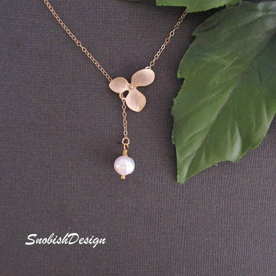 Orchid Necklace, Birthstone Necklace, Minimalist Necklace, Minimal Necklace, Delicate Necklace, Dainty Necklace, Pearl necklace, Simple