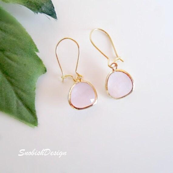 Ice Pink Earrings, Minimalist Earrings, Minimal Earrings, Everyday Earrings, Gold Earrings, Gift for Friend, Wife Gift, Minimal Jewelry,