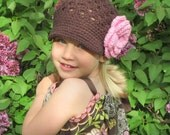 Baby, Toddler, Child, Tween, Teen, Adult Crocheted Flower Newsgirl Newsboy Brown with a large Pink flower