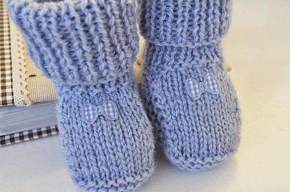 Hand Knitted Blue Knit Booties Bow Tie
