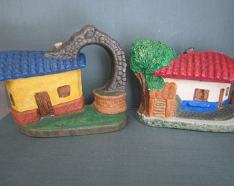 Painted Plaster and Metal Costa Rica Folk Art - Charming Colorful Wall Hangings