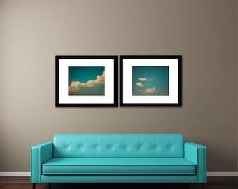 Large Art: Cloud Set of 2, 16x20 Fine Art Photography SAVE 25% OFF Prints Dreamy, Whimsical Cloud photos,Home Decor Wall Art Teal Blue