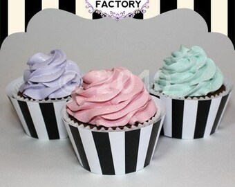 Printable Black and White Stripe Cupcake Wrappers