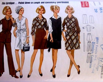 Butterick 5267 Misses' 70s Half Sized Front Button Dress, Jumper, Tunic, Blouse, Skirt and Pants Sewing Pattern Size 16 1/2 Bust 39