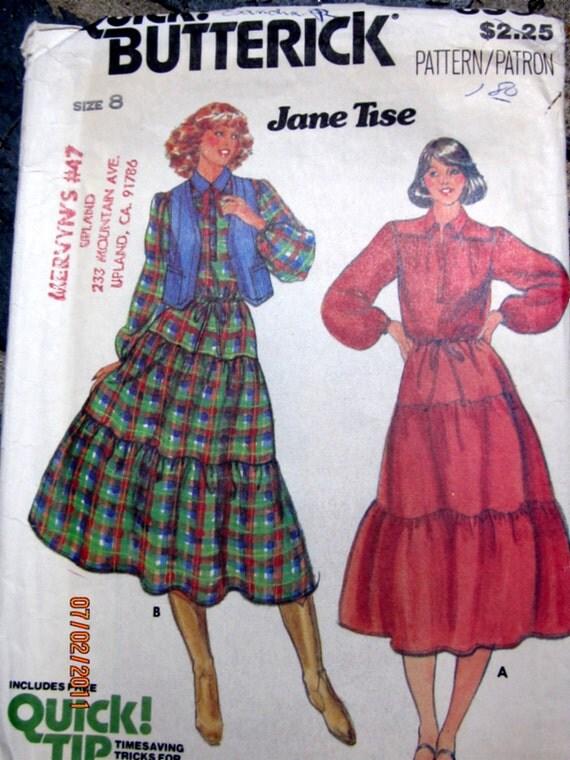 Butterick 6331 Jane Tise 70s Womens Dress Sewing Pattern Bust 31