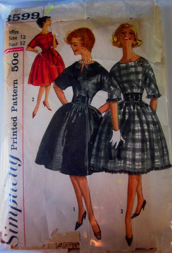 Simplicity 3599 Womens One Piece Dress Sewing Pattern 1960s