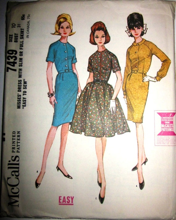 McCalls 7439 Womens 60s Full or Slim Dress Raglan Sleeve Sewing Pattern Bust 31
