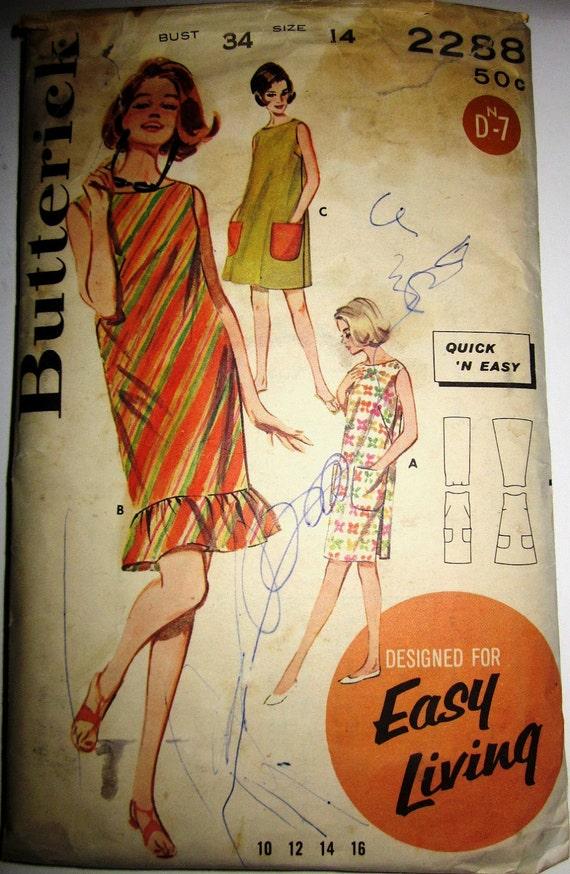 Butterick 2288 Womens 60s Collarless Sleeveless Play Dress Sewing Pattern Bust 34