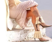 Boot socks, cream spats, boot cuffs, leg warmers, ankle warmers, crochet  laced up gaiters, two ways to wear