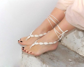 Crochet barefoot sandals cream foot decoration nude shoes wedding lace sexy  yoga  anklet  steampunk sandals beach pool