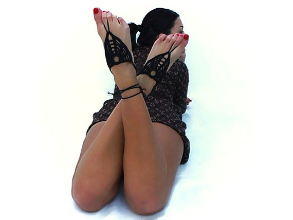 Barefoot sandals, Black crochet nude shoes, foot jewelry, victorian lace, sexy, lolita, yoga, anklet , bellydance