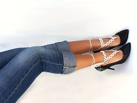 Ivory Triangle barefoot sandals, Geometric crochet nude shoes, foot jewelry, wedding, lace, sexy, lolita, yoga, stempunk, Geometry