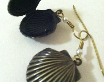 Shell Locket Earrings with Pearl Beads